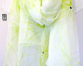 Hand Painted Silk Shawl Scarf, Chartreuse Green Chrysanthemums, White Silk Scarf, Floral Scarf, Silk Chiffon Scarf. 42x71 in.