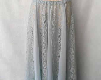 Bohemian Lace Low Rise Sheer Maxi Skirt