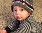 Baby Boy Gray and Maroon with White Crochet Hat/Beanie, Texas A&M, TAMU, Aggie, Mississippi State Bulldog