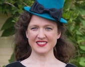Olivia Fascinator Hat in Teal Felt with Tailored Grosgrain Bow