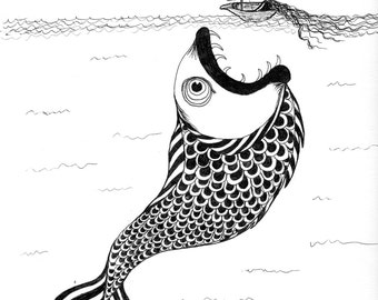 """5x7 Print of Nautical Seamonster Drawing by Jami Joelle Nielsen """"Lady and Leviathan"""""""