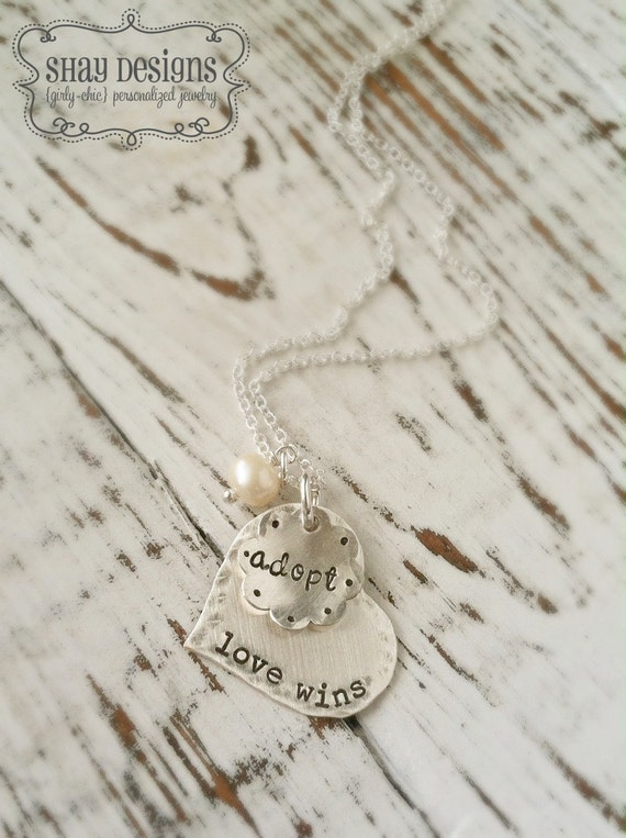 Adoption Necklace . Personalized Adoption Jewelry . Love . Heart . Pendant . Adoption . Personalized . Shay Designs . Love Wins