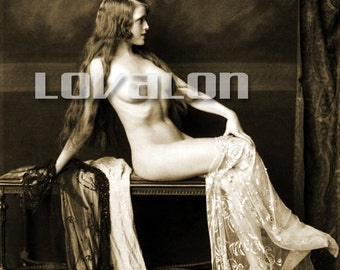 MATURE... Gorgeous Girl...  Instant Digital Download... 1920's Vintage Nude Glamour Fashion Photo by Lovalon