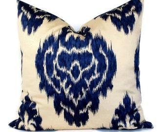 Pillow Cover Duralee Ikat Pillow Decorative Pillow Cover Accent Pillow Throw Pillow 18x18 20x20 22x22 or 14x20 Lumbar Pillow Blue and Khaki