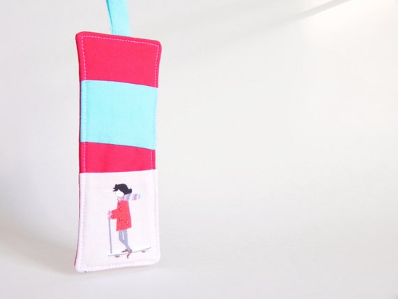 1 SCOOTER GIRL Tooth Fairy Pillow - Stocking Stuffer, Easter Treat, Birthday Party Favor Gift, Loot Bag, Scandinavian, Crimson Red Turquoise
