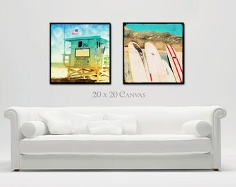 Surfer Art Canvas Large, Beach Canvas Wall Art, Surf Art Canvas, Santa Monica Lifeguard Tower, Surfboards, Retro Beach Decor, California Art