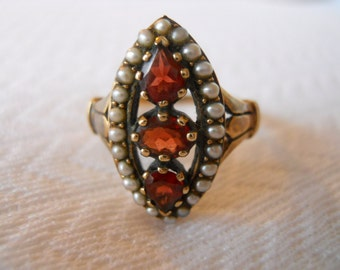 English Estate Yellow Gold Ring with Bohemian Garnets and Seed Pearl  Size 8 1/4