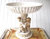 Vintage cherub compote napcoware alabastro Tuscany putti italian decor footed bowl