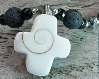 Long Necklace White cross pendant Lava rocks Christian cross rosary beaded necklace matinee black lava beads black and white One of a kind