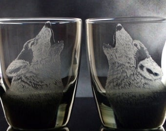 Wolf Glass whiskey glass on the rocks Set of 2 DOF hand engraved drink set scotch handmade