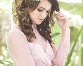 Wedding pink headband, rose gold headpiece, bridal crystal tiara, pearl hair crown, bride hair accessory, hair jewelry - Maelle