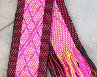 Handwoven Pink Black and Neon Green Argyle Scarf