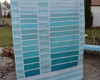 Handmade Quilt Modern Ombre Pale Aqua Blue Chevron Fabric Asymmetrical Color Block Throw Size Quilt