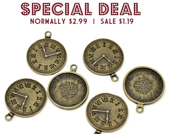 Bronze Clock Charms LARGE  Antique Tone - 37x30mm - 3pcs  - Ships IMMEDIATELY  from California - BC05