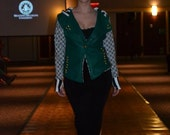 TMd: Italian green leather mixed prints urban,edgy motorcycle jacket. med large m l ready to ship (Runway Discount)