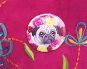 Round mirror: Pug dog & roses artwork on a pink mirror. Pocket sized handbag mirror printed with my kitsch illustration of a pug dog