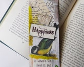 Large Handmade Bookmark Mixed Media Collage Inspirational Happiness Quote Vintage Bird Green Yellow 2.5 x 8.5 Collaged Layers