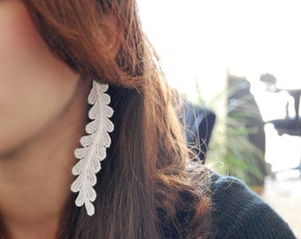 Lace Earrings -- White Lace, Long, Make a Statement, Silver, Floral, Intricate