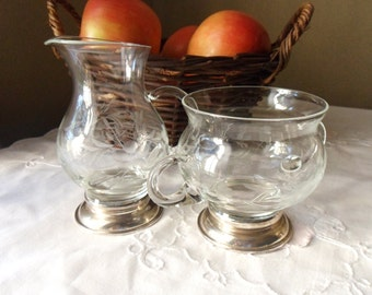 Etched Glass Cream and Sugar Set with Sterling Silver Bases, Elegant Dining Decor