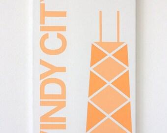 "Windy City - 12"" x 24"" Handpainted on Canvas in Orange"