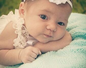 White Shabby Flower Headband - White Headband - White Flower Headband - Flower Girl Headband - White - Baby Infant Toddler Teen Headband