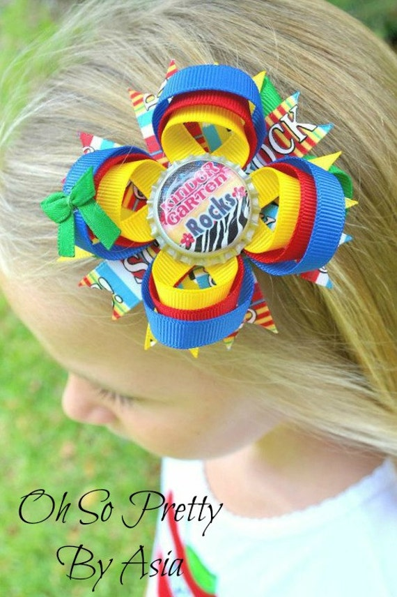 Back To School Hair Bow - 1st 2nd 3rd 4th 5th Kindergarten Hair Bow - Red Green Blue Yellow Hair Bow - YOU PICK BOTTLECAP