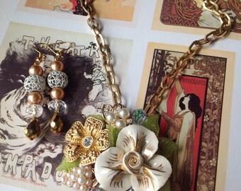 Vintage Handmade Ooak Golden Rose Rhinestone Enamel Flower Necklace Earrings Set
