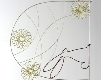 Wire drawing - Hares under shooting stars - Wall hanging