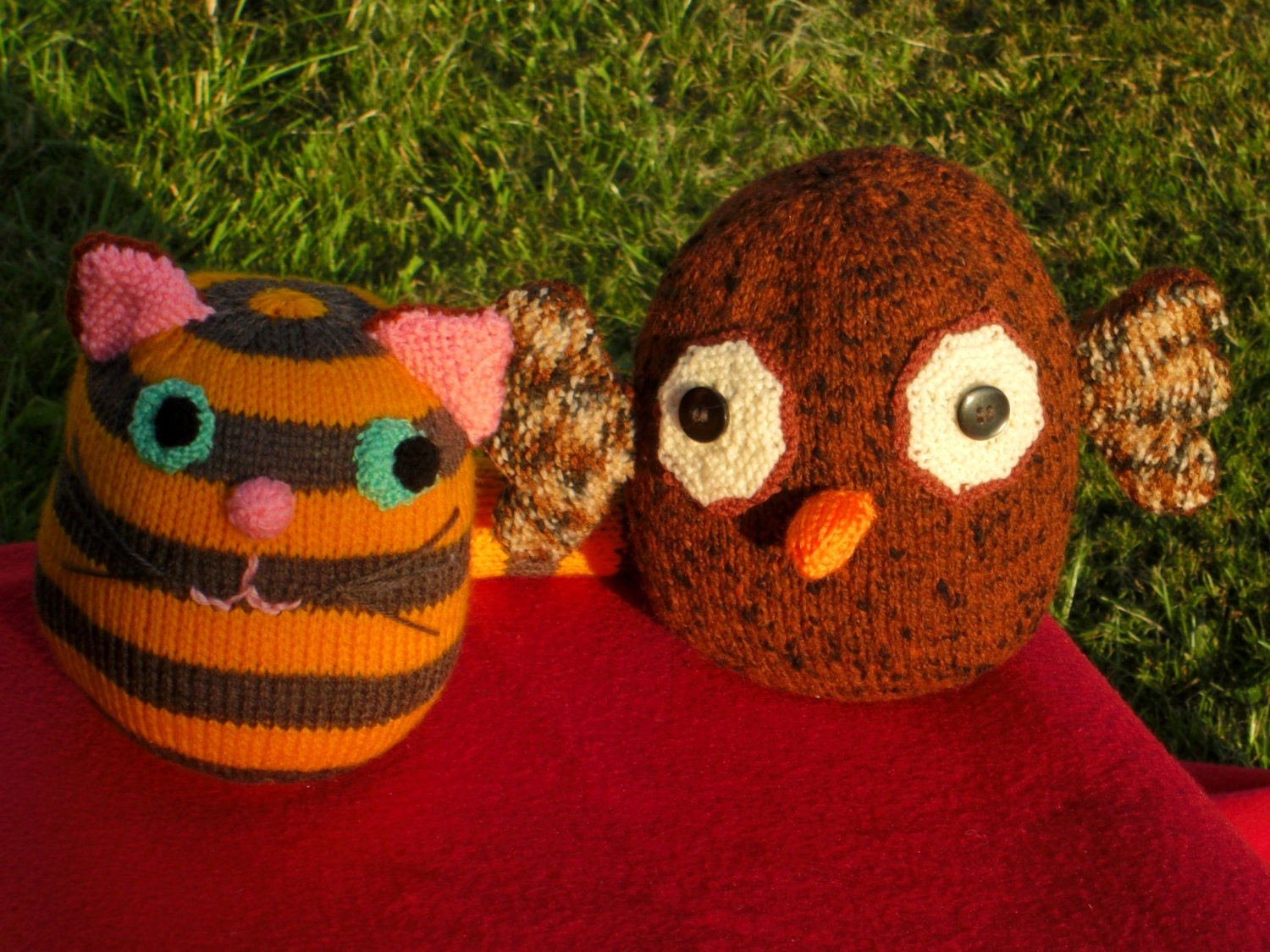 Hand Knitted Toys : Hand knitted toys the owl and pussycat