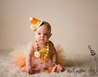 "Halloween Costume - ""Tutu Cute"" Candy Corn Costume - Girl Toddler Baby Infant Newborn Halloween Costume"