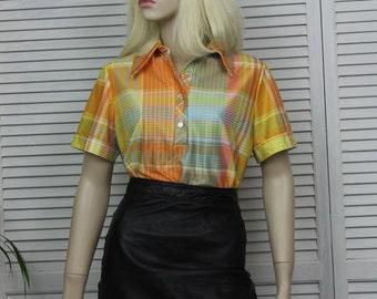 Vintage 1970s Orange Plaid Blouse Lady Blair
