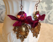 Burgundy Bow Royal Crest Earrings. Bohemian. Romantic. Royal. Gypsy. Christmas.
