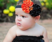 Halloween Satin Flower Rose Headband - Photo Prop - Orange with Black - Newborn Baby Hairbow - Little Girls Hair Bow - Kids Hair Accessories