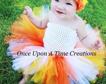 Ready To Ship - Candy Corn Princess Tutu or Dress - Size Newborn 3 6 9 12 Months 2T 3T 4T 5 6 7 8 10 12 Halloween Birthday Costume