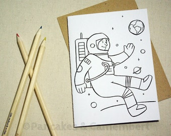Coloring card - Astronaut
