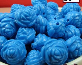 12 FLOWER ROSE BEADS 20mm Blue Acrylic Flower Beads, Acrylic Beads, Chunky Beads, Bubblegum beads