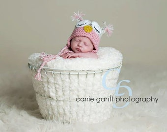 PATTERN: Owl hat, size newborn to adult, easy crochet PDF, sleepy or awake eyes, pink blue brown, InStAnT DoWnLoAd, Permission to Sell