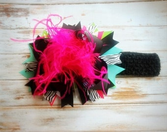 Zebra Over the top Boutique Hair Bow, Headband, Glitzy Pageant, Curly Ostrich Puff, Over the top Headband, Birthday bow