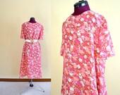 1960s Vintage Plus Size Pink Floral Cocktail Dress size XXL bust 46