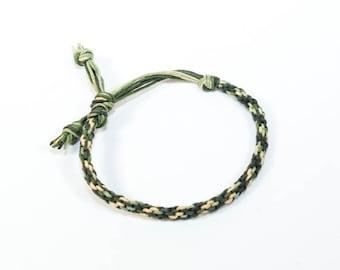 Hemp Mens Bracelet Kumihimo Camouflage Green & Brown Thick Man's Jewelry