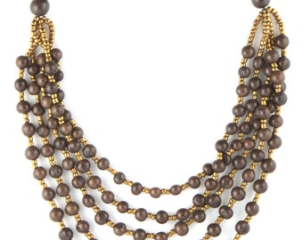 "Grey Acai Seed Necklace w/ Gold Accent Beading - ""TERRA"" Style"