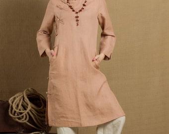 long linen tunic in pink / linen tunic dress / longsleeve winter blouse top - custom