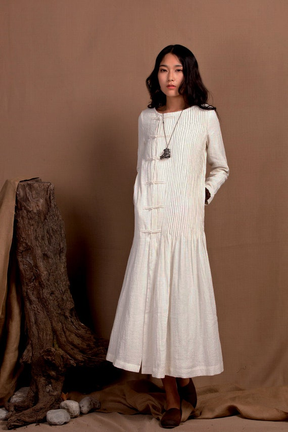 White dress maxi kaftan dress wedding maxi linen dress for White kaftan wedding dress