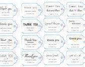 Custom Wedding Thank You Tags - Rustic Chic - Elegant - Customizable- Set of 25