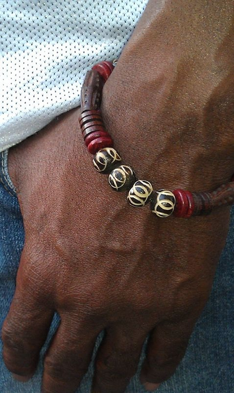 Men S Stretchy African Bone Wood Beaded Bracelet