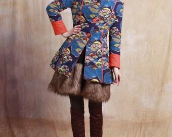 winter warm cotton-padded jacket / coat long winter linen coat--4