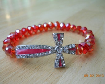 Red and Crystal Cross on Red Crystal Beaded Stretch Bracelet