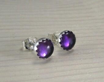 Amethyst stud earrings sterling silver - February birthstone - 6mm gemstone post earrings - under 30 - great gift