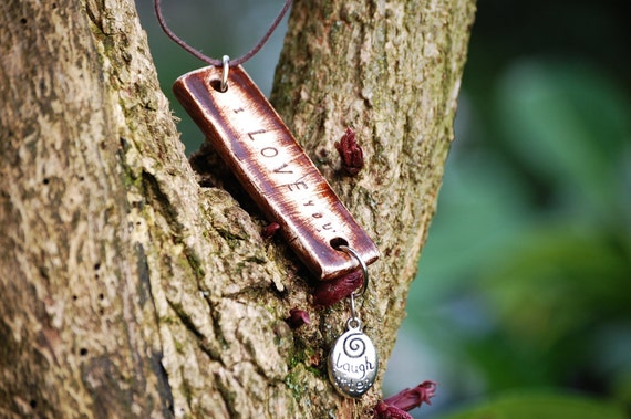 Custom Talisman Necklace with Engraved Pendant - Inspirational Words Artisan Handcrafted Eco Friendly Jewelry Gift Idea for Her