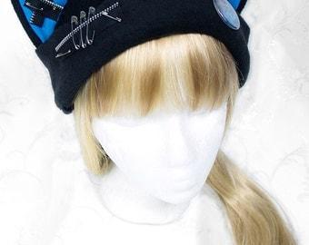 Cat Kitty Fleece Hat  Anime Cosplay Harmony Zipper Punk JRock  (Blue Ears with Zippers)